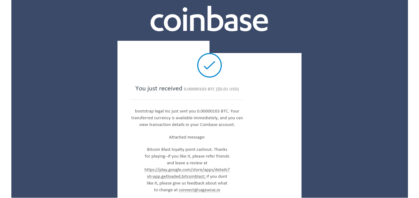 Payment confirmation from Bitcoin Blast