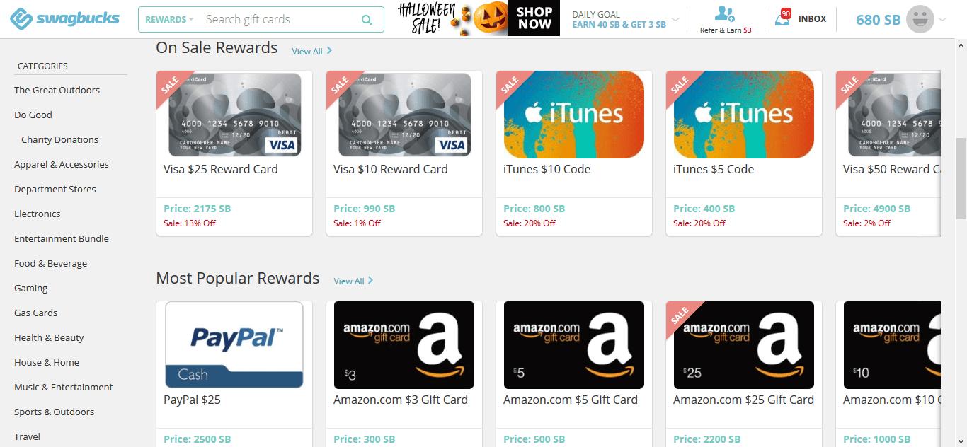 Swagbucks rewards page