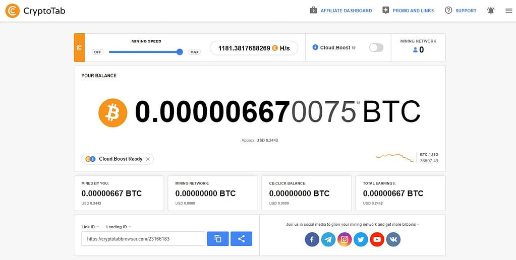 CryptoTab Dashboard - earnonline.review