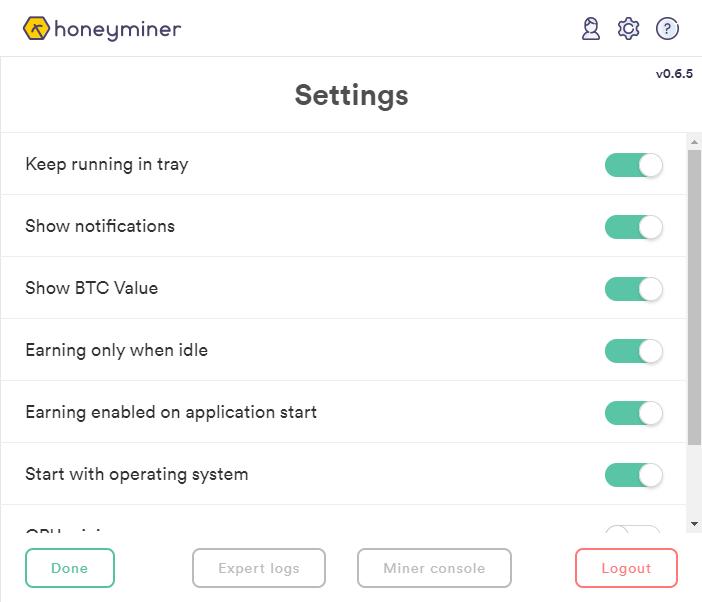 Honeyminer Settings